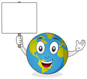 Earth Character Holding Blank Sign Royalty Free Stock Image