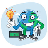 Earth Character Holding Light Bulb and Electric Plug. Vector Illustration. Mascot Character Royalty Free Stock Photography