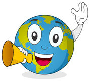 Earth Character Holding a Megaphone Stock Images