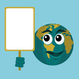 Earth Character Holding Signboard Stock Photography