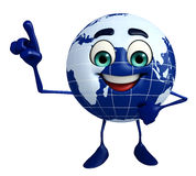 Earth Character is pointing Royalty Free Stock Photography