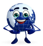 Earth Character is pointing Stock Images