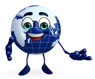 Earth Character with presenting pose Royalty Free Stock Photos