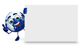 Earth Character with sign Royalty Free Stock Photos