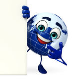 Earth Character with sign Royalty Free Stock Photo