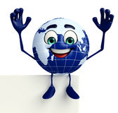 Earth Character with sign Stock Photo