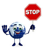 Earth Character with stop sign Royalty Free Stock Photos