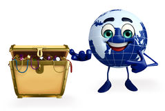 Earth Character with treasure box Stock Photography