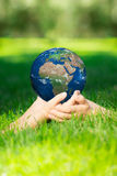 Earth in children`s hands Stock Photography