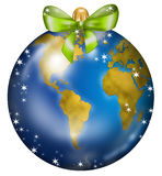 Earth Christmas ball USA and Africa Royalty Free Stock Photos