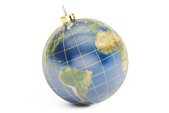 Earth Christmas Ball, 3D rendering Royalty Free Stock Image