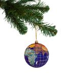 Earth and christmas tree Royalty Free Stock Images