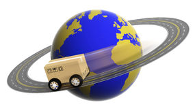 Earth circled by highway with box Stock Photography