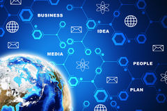 Earth with circles and business words Stock Image