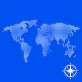 Earth circles and compass on a blue background Royalty Free Stock Photography