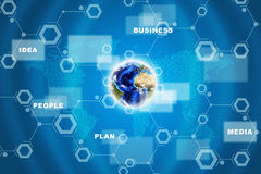 Earth with circles and symbols. Earth with circles and business words on abstract blue background. Elements of this image furnished by NASA royalty free illustration