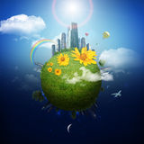 Earth with city and clouds Royalty Free Stock Image
