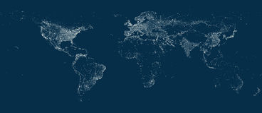 Earth' city lights map on the soft dark background. Earth' city lights vector map on the soft dark background Stock Photography
