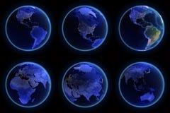 Earth city lights set. Maps from NASA stock illustration