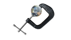 Earth in a clamp - environmental warning Royalty Free Stock Images