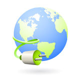 Earth clean energy source icon. Illustration of the earth globe with electric wire as icon for clean green energy resources Stock Images