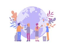 Small people clean Earth design concept vector illustration