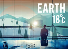 Earth Climate Ecology Environmental Conservation Concept. Businessman standing meeting room earth climate ecology environmental conservation Royalty Free Stock Photography