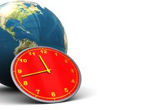 Earth and clock background Stock Photos