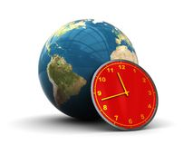 Earth and clock icon. Abstract 3d illustration of earth globe and clock Royalty Free Stock Image
