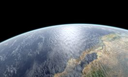Earth close-up rendering Stock Images
