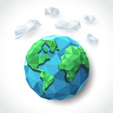 Earth with cloud polygon Stock Photo