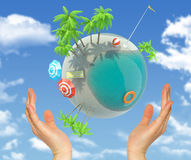 Earth with clouds above humans hands Royalty Free Stock Photos