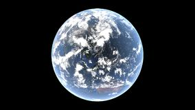Earth and clouds above it rotate at different speeds, isolated globe on transparent background, 3d rendering, elements this image