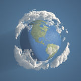 Earth with Clouds 3D Royalty Free Stock Photography
