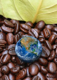 The earth with coffee bean ,including elements furnished by NASA Royalty Free Stock Photography