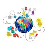 Earth with colored business sketches Royalty Free Stock Image