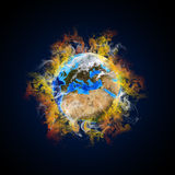 Earth in the colored smoke Royalty Free Stock Photo