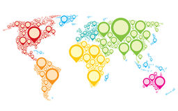 The Earth. Colorful world map showing Earth with all continents Stock Photo