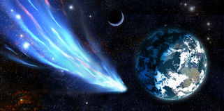 Earth and a comet Stock Photo