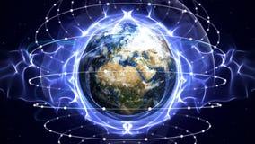Earth, Communication Network Graphics Animation Background Stock Photo