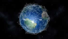 Earth communications. Network and data exchange communications grid over planet earth in space. 3D rendering elements of this image furnished by NASA Royalty Free Stock Image