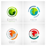 Earth company logo design. Business abstract concept in circle, flat design Stock Photography