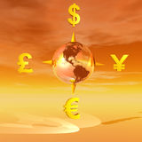 Earth compass to currencies Royalty Free Stock Photos