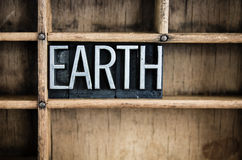 Earth Concept Metal Letterpress Word in Drawer Stock Photography