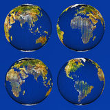 Earth consisting of small cubes set Royalty Free Stock Photography