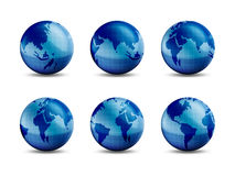 Earth & continents. Earth in different angles showing each continent Stock Image