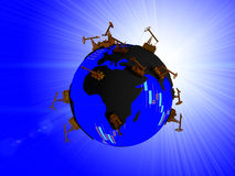 Earth with continents in the form of oil puddles and oceans with texture stock quotes and randomly distributed Pumpjack. Earth with continents in the form of Stock Images