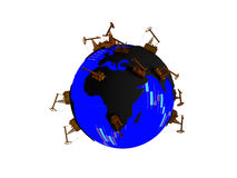 Earth with continents in the form of oil puddles and oceans with texture stock quotes and randomly distributed Pumpjack. Earth with continents in the form of Royalty Free Stock Photos