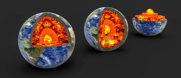 Earth core. Earth cross section showing its internal structure. Digital illustration Stock Photo
