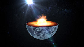 Earth core. inner structure with geological layers. 3d rendering Stock Photos
